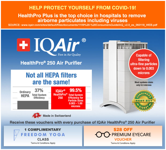IQAir HealthPro 250 Air Purifier Made in Switzerland
